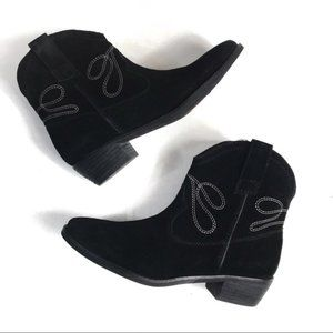 Vaneli Black Suede Embroidered Western Ankle Boots